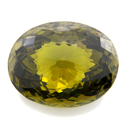 366.5cts Huge Oval Cut 43*34mm Olive Green Cubic Zirconia Gemstone VVS Top Grade
