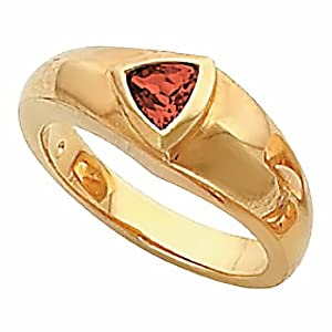 18K Yellow Gold Mozambique Garnet Ring -- LIFETIME WARRANTY