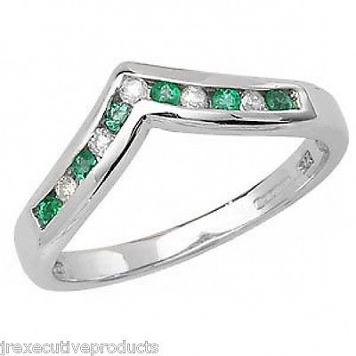 White Gold Emerald & Diamond Wishbone Eternity Ring (available In Sizes J-s)
