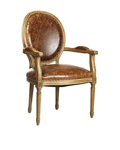 Zentique Medallion Armchair with Jute, Brown