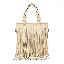 Dawdyfu Women Faux Fringe Tassel Shoulder Bag Big Casual Tassels Hobo Handbag (beige)