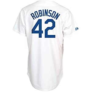 Jackie Robinson Dodgers Majestic White Cooperstown Throwback Replica Jersey by Majestic