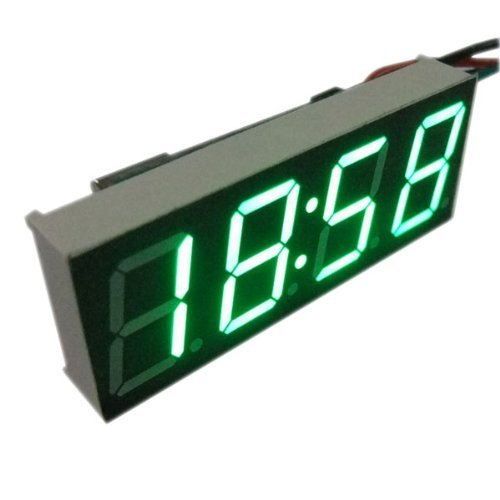 "0.56"" Green Led Sign Electronic Digital Clock Display 4 Digits Car Vehicles 12V/24V Battery Operated"