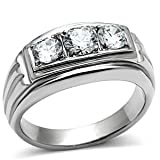 Isady - Landon Acier - Men's Ring - Satinless Steel - Cubic Zirconia colorless - U
