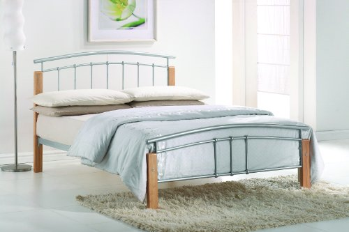 Simple Thiago Modern Beech Wooden Silver Metal Bed Frame Contemporary Bedstead Bedroom Furniture FT King Size