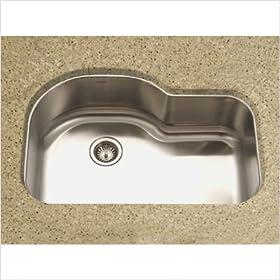 Medallion Designer Undermount Offset Single Bowl Kitchen Sink in Satin