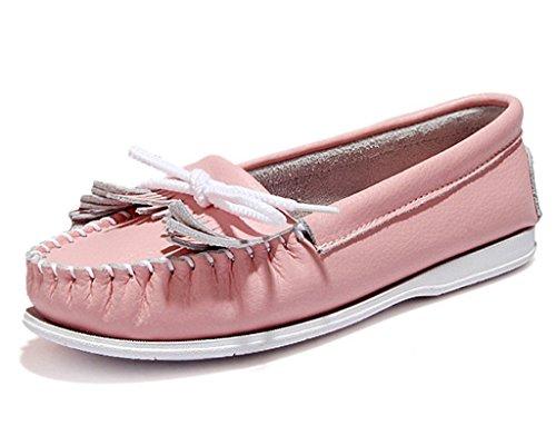 Minetom Donne Ragazze Estate Barca Scarpe Stringate Mocassino Pantofole Scarpe Con Nappe Tallone Piano Rosa 39