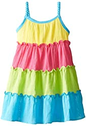 Youngland Little Girls' Colorblock Gauze Sundress with Braided Straps
