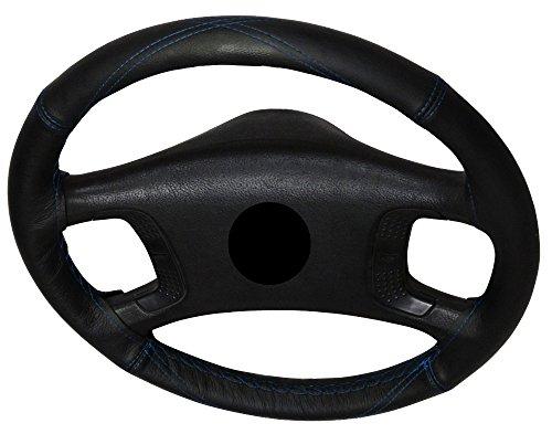 AERZETIX-Couvre-volant--coudre-en-cuir-vritable-Couleur-noir-Surpiqres-en-X-bleues-Taille-M