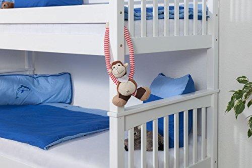 Lit pour enfant / Lit superposé Mario en hêtre massif peint en blanc, sommier à lattes déroulable inclus - 90 x 200 cm