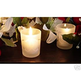Double Heart Wedding Candle Holder with 4 Hour Candle (Set of 96)