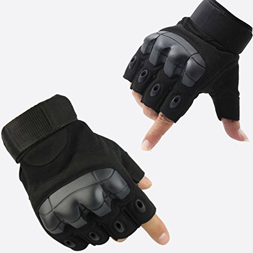 Fuyuanda Half Finger Outdoor Gloves Hard Knuckles Tactical Glove for Shooting, Military, Hunting, Driving, Paintball, Cycling, Airsoft, Army, Sporting Motorcycle Glove Black Medium