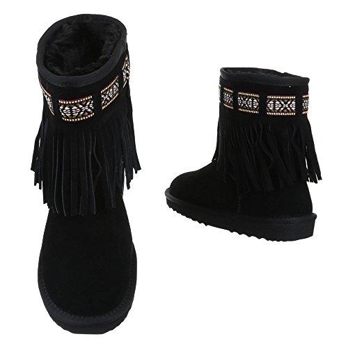 damen-schuhe-5821-stiefeletten-echtleder-boots-mit-fransen-wildleder-schwarz-gr-38