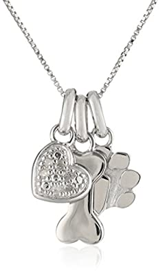 Sterling Silver Dog Bone Diamond Accent Heart and Paw Print Charm Pendant Necklace, 18""