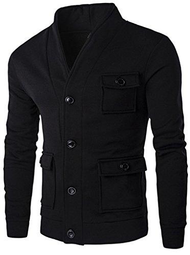 Retrograder Mens Short Slim Fit V Neck Outerwear Jacket Coat B065-Black-XL (Caps Louis Vuitton compare prices)