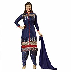 Pruthu Cotton, Chiffon Embroidered Salwar Suit Dupatta Dress Material (pbd_01_Blue_Free_Size)