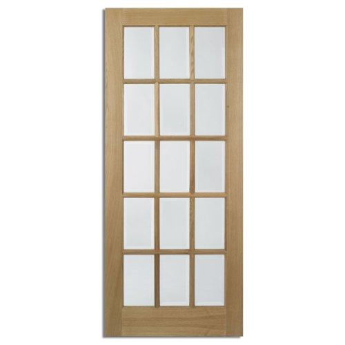 Internal Door - Oak Frame - 15 Clear Bevelled Glass Panes - W 686mm