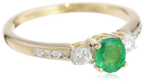14k Yellow Gold Emerald and Diamond Ring (0.17 cttw, G-I Color, I1-I2 Clarity)