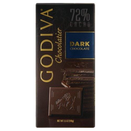 Godiva Dark Chocolate Bar, 72%, 3.5-Ounces (Pack of 5)