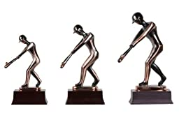 Abstract Copper Baseball Player (L) Figurine (Free Shipping)
