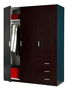 Composad Armadio tre ante e tre cassetti colore wengè AR0456