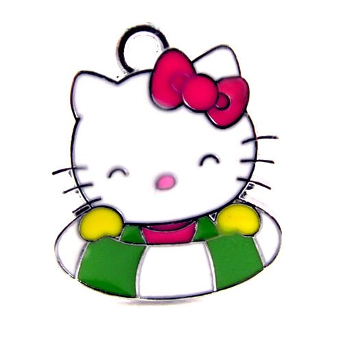 12X Cute Hello Kitty Charm Enamel Pendant Charm/HK in Green and White Swim Float   DIY Jewelry Making