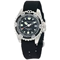 New St. Moritz Momentum M1 Men's Dive Watch (Tenerife) & Underwater Timer for Scuba Divers with Black Dial & Black Re-Ply Nylon Band