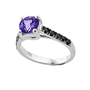 Fine 14k White Gold February Birthstone Solitaire Amethyst Engagement Ring with Black Diamonds (Size 4.25)