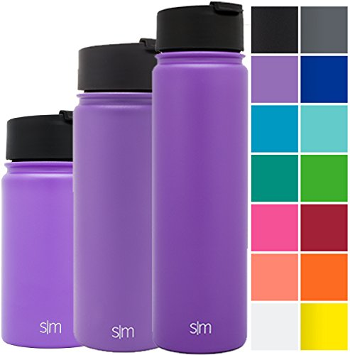 Simple Modern 14oz Vacuum Insulated Stainless Steel Water Bottle - Extra Flip Lid Included - Summit Wide Mouth Coffee Tea Thermos - Double Walled Kids Cup - Powder Coated Hydro Canteen - Lilac Purple