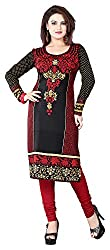 SANVARI FASHION Women's Crepe Straight Kurta (Event113-A, Multi-Coloured, XXL)