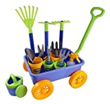 Garden Wagon Tools Toy Set for Kids with 8 Gardening Tools 4 Pots Water Pail and Spray – Great for Beach Sand Too Model Toys Play