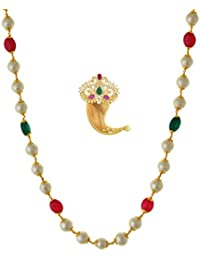 One Gram Gold Plated Indian Traditional SINGLE Side Tiger Nail Pendant With Free Mala