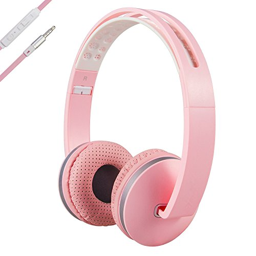 Headphones with Microphone for Laptop, Computer and iPad, KAYSION Foldable Headphone for Sport, Travel, Work, Portable Headset for Iphone and Android Devices (Pink)