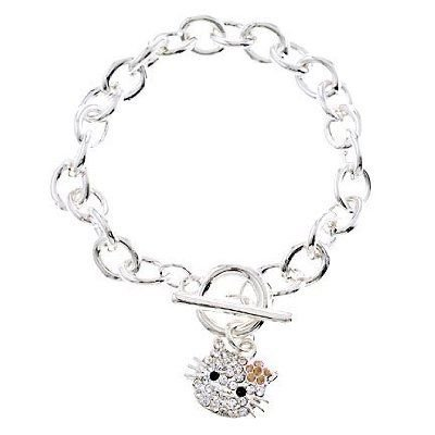 Rhodium Plated Champagne CZ Diamond Hello Kitty Charm Bracelet