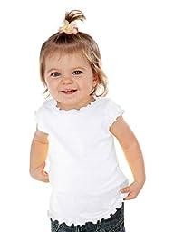 Kavio! Infants Lettuce Edge Scoop Neck Cap Sleeve Top White 18M