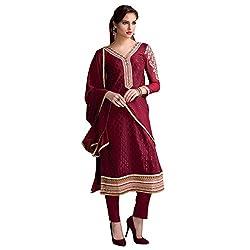 Bhelpuri Women Maroon Brasso Georgette Dress Material