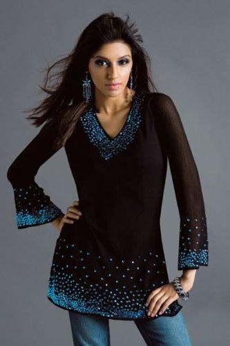 black synthetic long sleeve sequins work ladies / womens tops / tunics/ kurta / kurti