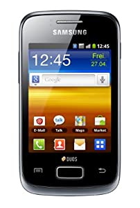 Samsung Galaxy Y Duos S6102 Smartphone (8 cm (3,14 Zoll) Touchscreen, 3,2 Megapixel Kamera, Android 2.3) strong-black