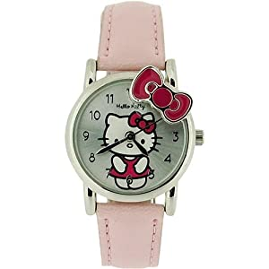 Hello Kitty Girls Analogue Silver Dial & Pink Kitty Bow Baby Pink PU Strap Watch