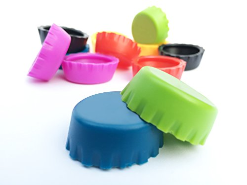 No leak, BPA free silicone beer caps assorted colors - 12 pack reusable caps - Wine stoppers beer caps homebrew - Bottle corks - Fits most bottles - No more wasting $$ on unfinished beer (Soda Pop Christmas compare prices)