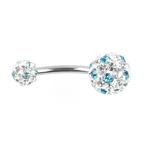 Tinksky scintillanti strass decorato donne ombelico anello Stud piercing Stud (Bianco + Blu)