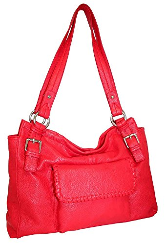 punto-uno-double-handle-shoulder-bag-with-leather-lacing-detail-red