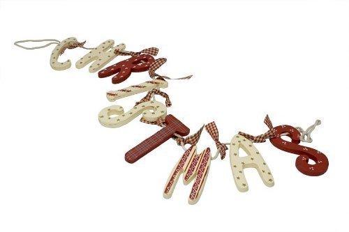 """Heaven Sends Shabby Chic - Ghirlanda natalizia di legno in stile country con scritta """"Christmas"""", colore: Bianco/Rosso"""