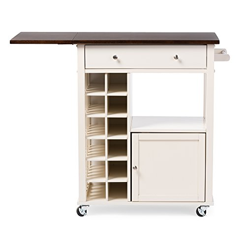 Baxton Studio Justin Modern and Contemporary Solid Wood Kitchen Cart with Dark Oak Drop Leaf Top and Built-In Wine Rack, Cream White (Wine Justin compare prices)