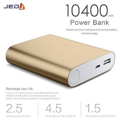JED ® Metal Shell Power Bank with LED Indicators & Dual battery cell technology 10400 mAh - Gold