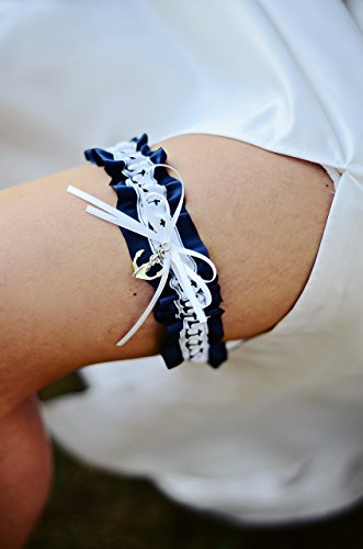 Nautical Navy Blue & White Anchor Nautical Satin Wedding Garter With Charm Bridal Keepsake Or Garter Set