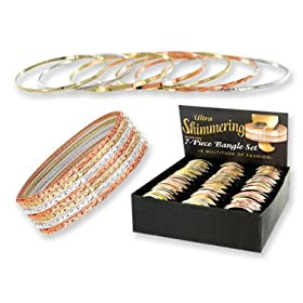 Ultra Shimmering 7 Piece TRI Tone Bangle Bracelet Set - Free Display Available!