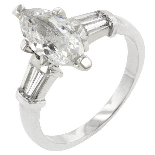 Rhodium Plated Cubic Zirconia Prong Set Engagement Ring in Size 10