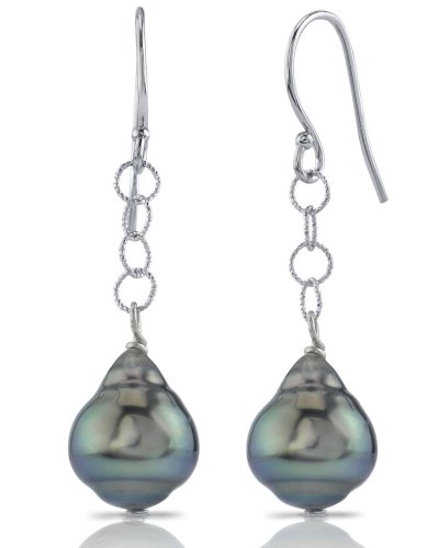 14K Gold Tahitian South Sea Baroque Pearl Dangling Tincup Earrings