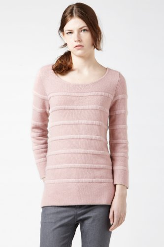 Long Sleeve Boatneck Mohair Rib Sweater